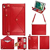 elecfan iPad Pro 12.9 2018 Handbag Case Red, Smart Stand Built-in Magnetic Strip Handband Multi-Function Strap Envelope Case with Pen Slot Simple Style Cover for 12.9 inch 3rd Gen iPad Pro 2018,Red