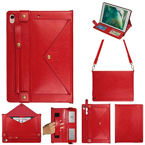 MeiLiio Case for iPad Pro Folio Cover, Wallet File Folio Pocket PU Leather Hangbag Shell Magnetic Stand Multi Function Sleeve Protective Cover for iPad Air 3/iPad Pro 10.5 Women&Girl (Red)