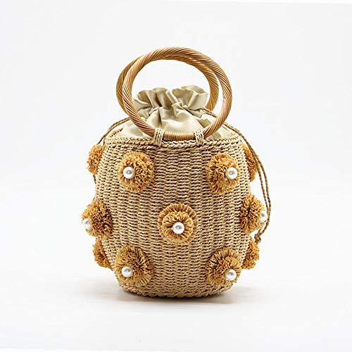 KKLLHSH Bolso de paja con adornos de cristal de diamantes de imitación hecho a mano, bolsos pequeños de cubo de paja, bolsos y carteras de viaje para mujer, 17X18X13CM