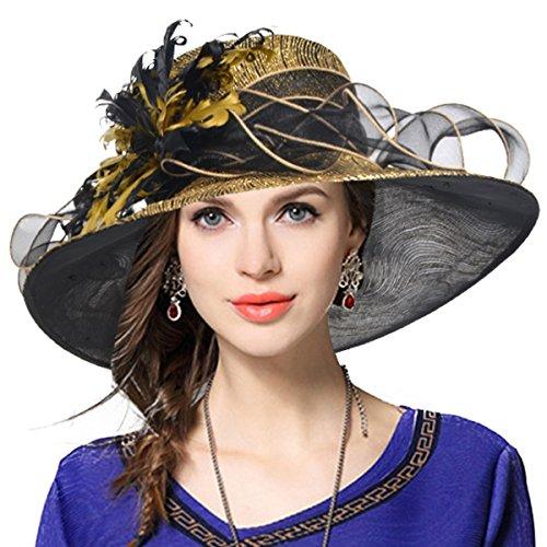 VECRY Mujeres Organza Church Derby Fascinator Sombrero Nupcial Boda Pamelas (41-Dorado)