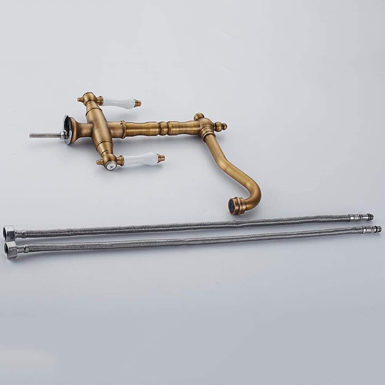 Daxiong Antique Brass Kitchen Tap 360° Swivel Two-Handle Mixer Tap Sink Tap with Ceramic Brass Handles