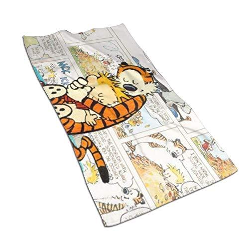 Toalla de baño de microfibra de secado rápido Hope Tree Fashion Toalla de poliéster Calvin y Hobbes personalizada (40 * 70 cm), una toalla de alta absorción para manos, gimnasio, belleza, cabello, s