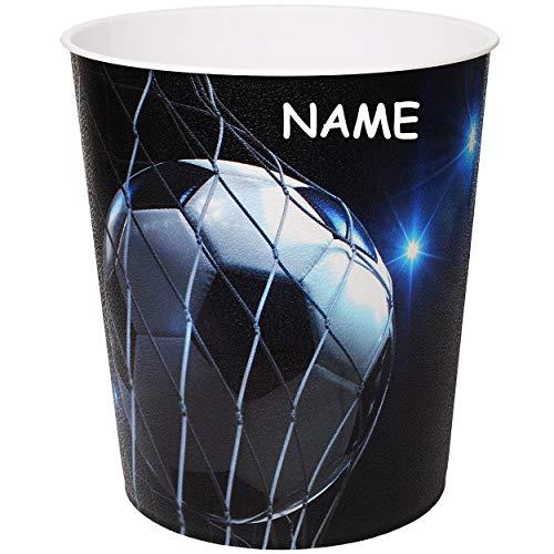 alles-meine.de GmbH Papierkorb / Behälter -  Fußball / Sport - Ball  - inkl. Name - 10 Liter - aus Kunststoff - Mülleimer / Eimer - Aufbewahrungsbox für Kinder / Büro - Jungen ..