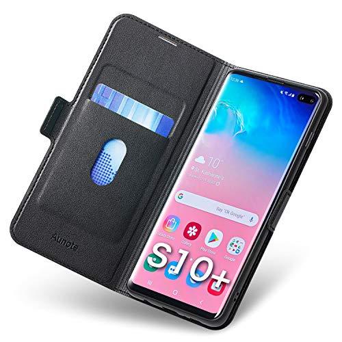 Funda Samsung Galaxy S10 Plus, Fundas S10 Plus Libro, Carcasa S10 Plus con Cierre Magnético, Tarjetero y Suporte, Capa S10 Plus Plegable Cartera, Flip Phone Cover Case, Tipo Étui Piel Protección Negro