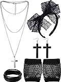 Blulu Accesorios de Disfraz de los Años 1980 Diadema de Encaje Pendientes Guantes de Malla Collar Pulsera (Negro)
