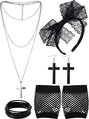Blulu 80 Jahre Kostüm Zubehör Spitze Stirnband Ohrringe Fischnetz Handschuhe Halskette Armband (Schwarz)