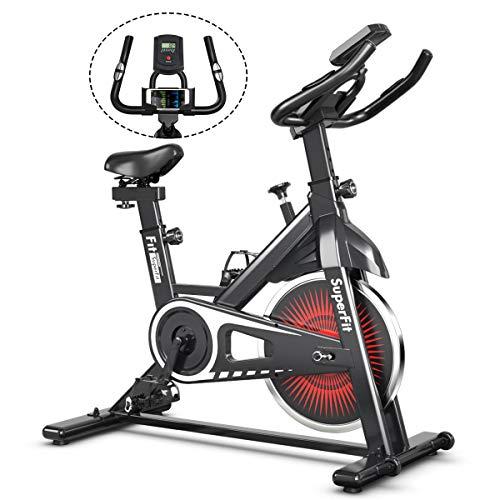COSTWAY Indoor Fahrrad mit 6KG Schwungrad, Heimtrainer Fahrrad mit einstellbarem Widerstand, höhenverstellbarem Sitz und Lenker, Handyhalterung und LCD-Anzeige, Fitnessbike bis 120KG belastbar (Rot)