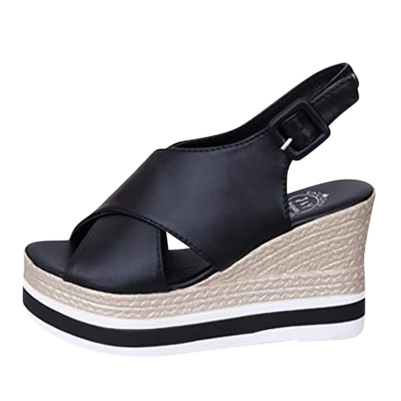 Women's Yonth Girls Slip on Walking Shoes, Jiayit Womens Fashion Wedges Open Toe Ankle Thick Bottom Straps Buckle Roman Sandals Wedge Sandals