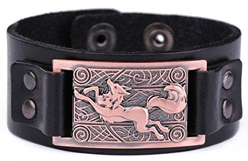 Wicca - Pulsera de piel con símbolo de lobo irlandés y nudo religioso norte vikingo, con símbolo de lobo