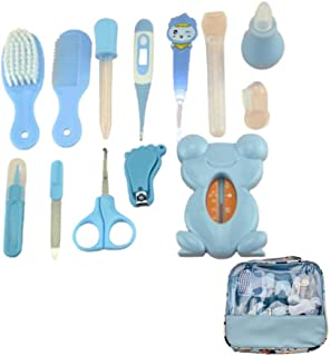 Baby Grooming Kit Newborn, 13PCS Baby Healthcare Kit Baby Care Accessories, Safety Cutter Nail Care Set, Nasal Aspirator, Nursery Baby Care Kit for Infants Newborns,Blue