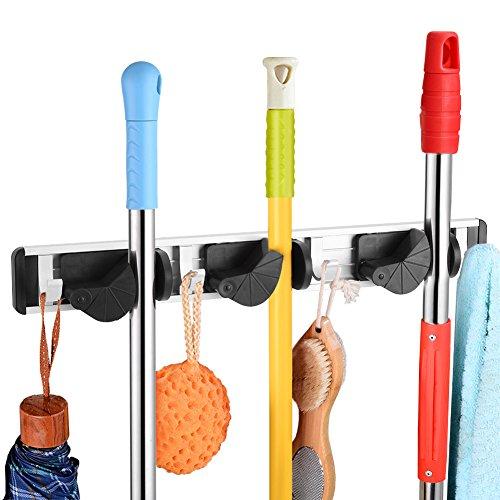Zerodis Mop en Bezem Houder Wandgemonteerde Rek Hanger Sweeping Brush Organizer met voor Sluiting, Rakes, Tuin, Sportuitrusting, Garage Opslag voor Rekken Ideeën