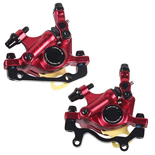 Mountainbike Scheibenbremsen Stahl Outdoor Radfahren Vorne Hinten Bremsklemme Mechanischer Bremssattel Sport Zubehör (Two Red)