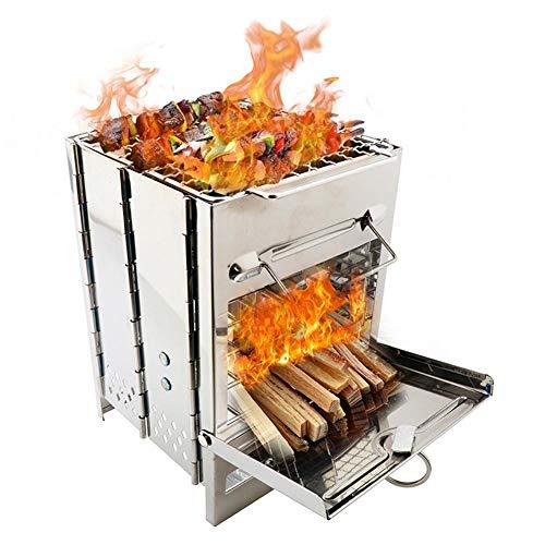 Poêle à Pique-nique Portable Pour Le Gril Pliant En Plein Air Pour Le Barbecue Poêle à Bois Carré En Acier Inoxydable Pour Le Barbecue Poêle à Pique-nique Pour Barbecue BBQ
