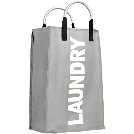 IHOMAGIC洗濯バッグ ランドリーバスケット ランドリーボックス 折り畳み式 洗濯ボックス 洗濯収納ボックス 洗濯物入れ ンドリー収納 雑貨収納 容量40L 長さ33cm×幅 23cm×高さ53cm(グレー)