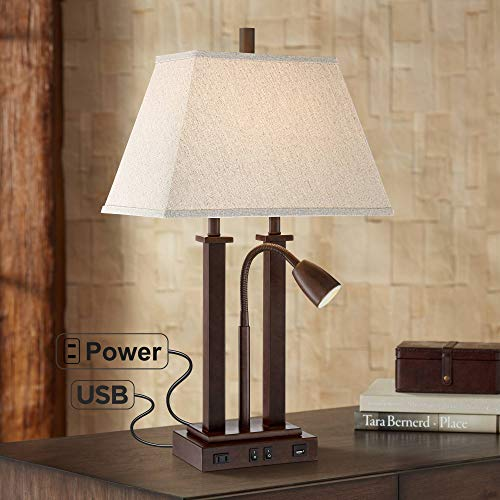 Deacon Modern Desk Table Lamp with USB and AC Power Outlet in Base Gooseneck LED Bronze Rectangular Linen Shade for Living Room Bedroom House Bedside Nightstand Home Office - Possini Euro Design