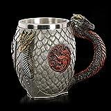 Juego de Tronos jarra de cerveza, la sangre y el fuego retro Tagrian taza, dragón de acero inoxidable de la taza de café mango, apto for el café / bebidas / jugo, medieval / renacimiento temática 400m