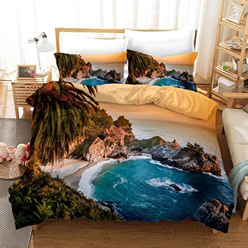 HDBUJ Ocean Landscape Juego De Tres Piezas De Ropa De Cama Primavera Otoño (Fibra De Poliéster), Funda De Almohada Y Edredón De Estilo Nórdico 135X200Cm