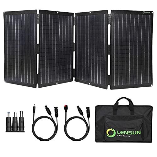 Lensun - Cargador de panel solar plegable, totalmente impermeable ETFE estratificado, carga para central eléctrica, generador solar, batería de camping y autocaravanas