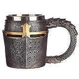 Level25 - Jarra de Cerveza de Colección con Forma de Casco de Armadura Medieval. Interior de Acero...