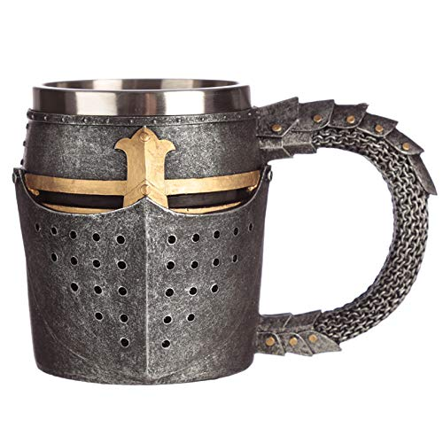 Level25 - Jarra de Cerveza de Colección con Forma de Casco de Armadura Medieval. Interior de Acero Inoxidable. Gran Capacidad