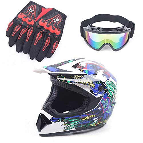 Youth Kids Offroad Gear Combo Helmet Gloves Goggles DOT Motocross Off-Road Racing ATV Dirt Bike Protector (#2, L)