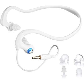 HydroActive Short-Cord Waterproof Headphones (Wired 3.5 mm Jack) with 11 Earbuds in 4 Styles (Separate Music Player Purchase Required)