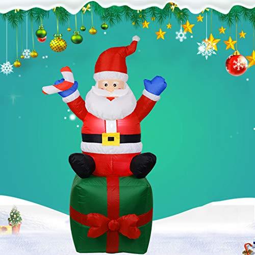 6Feet / 1.8M Riesiger Aufblasbarer Weihnachtsmann Auf Einem Geschenk Sitzen, Glühend Weihnachtsaußendekoration Mit LED-Licht, Weihnachten Inflatables Spielzeug in Yard Garten