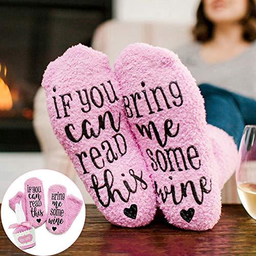 Preisvergleich Produktbild SEGRJ If You Can Read This Bring Me Some Wine Lustige Wintersocken einfarbig