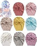 Asufegucd Baby Nylon Big Bow Turban Hats India Beanie Bohemia Donuts Cap Girls Headwear Bun Knot (BKFK8602)
