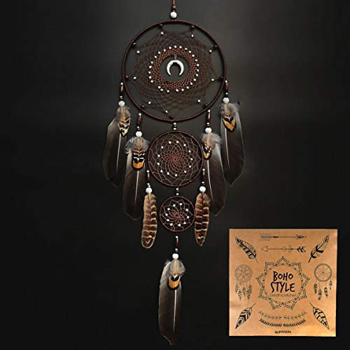 """Urdeoms Dream Catcher Wall Decor Large Dream Catchers with Brown Feathers Boho Room Decor Living Room Decoration Dia 7.9"""" (NO.9)"""