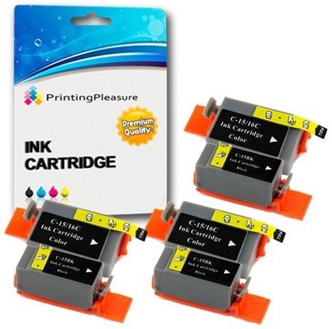6 Tintenpatronen kompatibel zu Canon BCI-15/16 für Pixma IP90 i70 i80 Selphy DS700 DS810 MINI220 - Schwarz/Color, hohe Kapazität