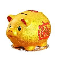 貯金箱 大容量の貯金箱、セラミック黄金の貯金箱、漫画かわいい貯金箱、お土産や子供の貯蓄銀行のおもちゃ 貯金箱 おもしろ (サイズ : Large)