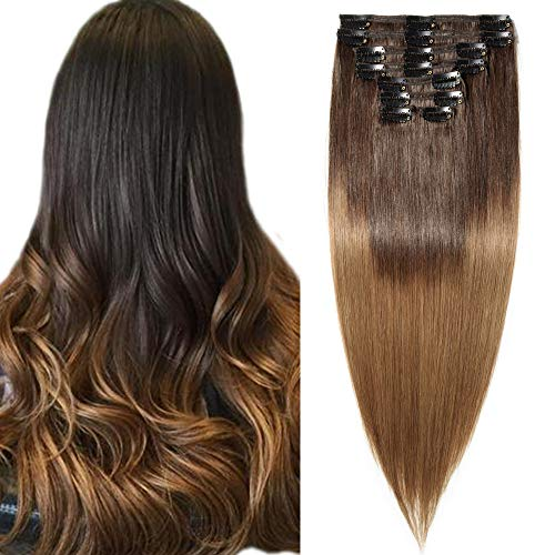 SEGO Rajout Cheveux Clip Naturel Lisse Extension Remy Human Hair Double Wefts - 50 CM 2T6#Chatain Foncé + Noisette - (Maxi Epaisseur) Bande a Froid sans Fil Invisible