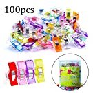 100 Pcs Quilting Clips, QMAY Quilting Clips And Wonder Clips, Sewing Clips Multifunction Assorted Color Plastic Clips for Quilting Clips, Crafting,Paper,Blinder, 2.4x1x1.1cm