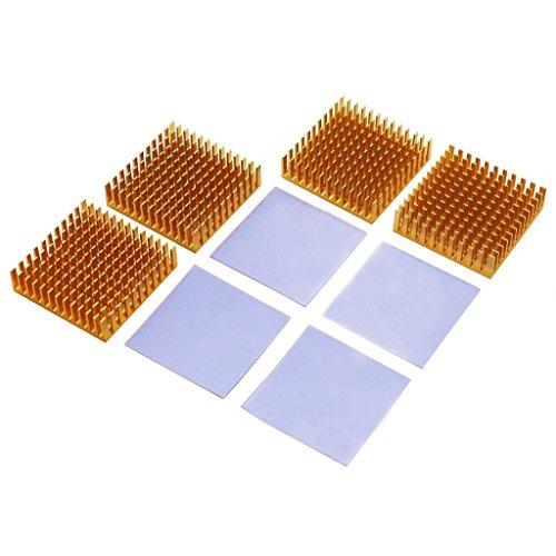 BNTECHGO 4 Pcs 40mm x 40mm x 11mm Golden Aluminum Heatsink Cooling Fin + 4 Pcs 40mm x 40mm x 0.5mm Silicone Based Thermal Pad