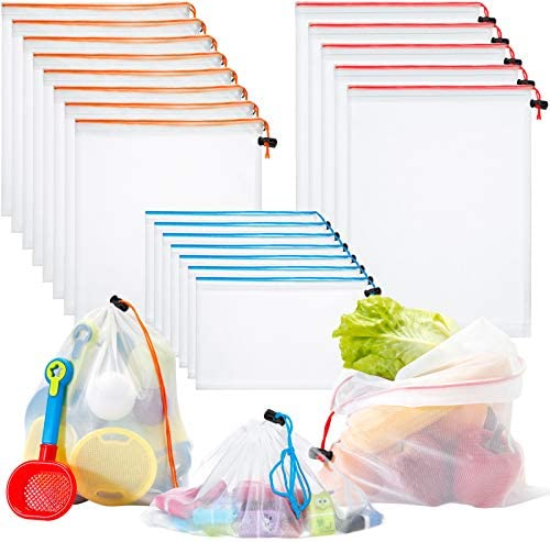 Toy Storage Organization Mesh Bags 20 Pieces Mesh Organizer Bags Washable Reusable Mesh Produce product image