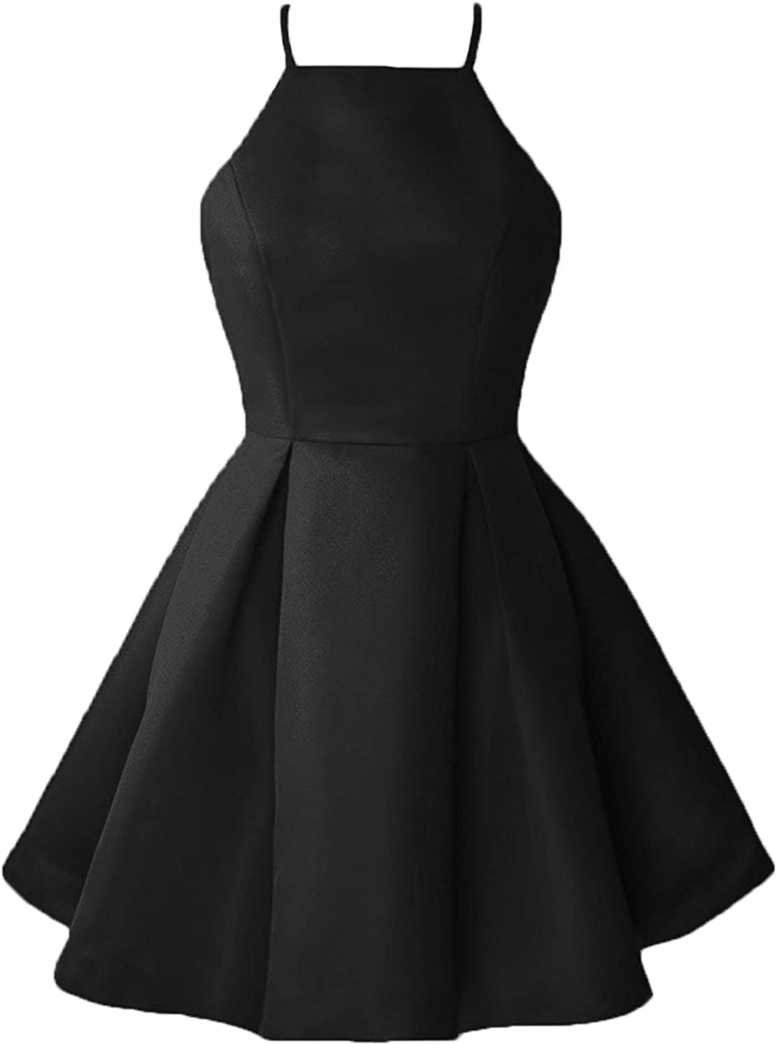 Dannifore Halter ALine Satin Homecoming Dress Short Cocktail Party Gown