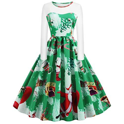 Vestido de Navidad para mujer, con puntadas, estilo vintage, para Navidad, estilo rockabilly, con estampado navideño, color rojo verde S