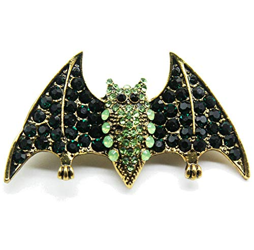 N\A Green rhinestone bat Pins Brooch Dress Coat Decoration Vintage Brooches for Women Girls