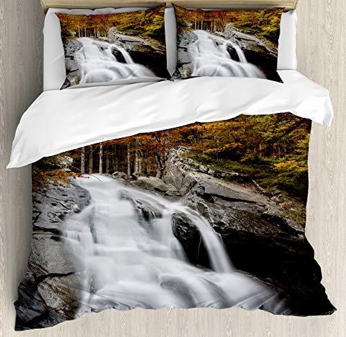 Juego de funda de edredón con forma de cascada, tamaño king y cena, con 2 fundas de almohada, color blanco, verde y naranja