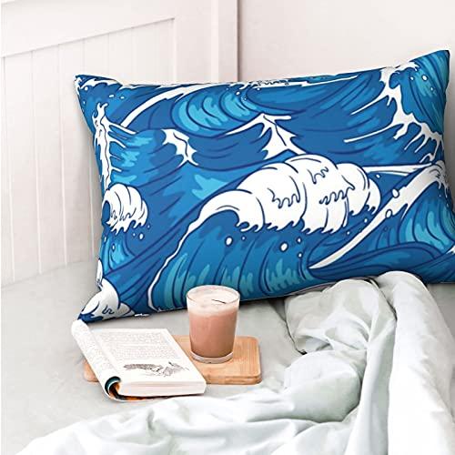 VVSADEB Funda de almohada Ocean Wave 50 x 70 cm, funda de almohada con cremallera, suave y acogedora, arrugas, tamaño estándar, 1 unidad