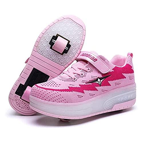 HANHJ Ruedas Zapatos Niños Rodillos Patines LED Ruedas Retráctiles Zapatos Skateboread Invisibles Zapatos Rodillos para Niños Zapatillas Deporte para Niña Boys Regalo,Pink-32