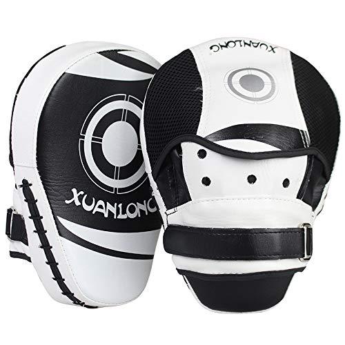 YOUSHANG Soltero Boxeo Entrenamiento | Manoplas Boxeo Blanco Negro | Strike Pads Son duraderos | Patas de Oso para Boxeo | Mitones de Enfoque | Punch Pads | Muay Thai Taekwondo Sanda Fight Training