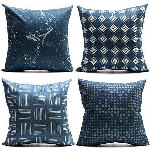 Set of 4 Linen Throw Pillow Covers Patterned Deep Blue Dark Navy Argyle Dot Sky Check Decorative Pillow Cases Home Decor Square 18x18 Inches Pillowcases