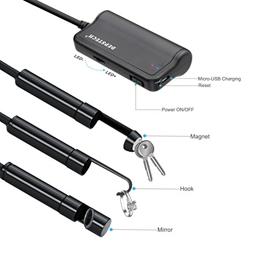 DEPSTECH 1200P Semi-Rigid Wireless Endoscope, 2.0 MP HD WiFi Borescope Inspection Camera,16 inch Focal Distance & 2200mAh Battery Snake Camera for Android & iOS Smartphone Tablet - Black 33FT (5M)