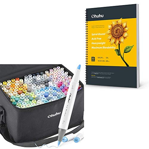 """Ohuhu Alcohol Brush Markers, 168-color Art Markers Set, Double Tipped Alcohol-based Markers+Ohuhu Marker Pads Art Sketchbook, 16.5""""×11.7"""" XL A3 Large Paper Size"""