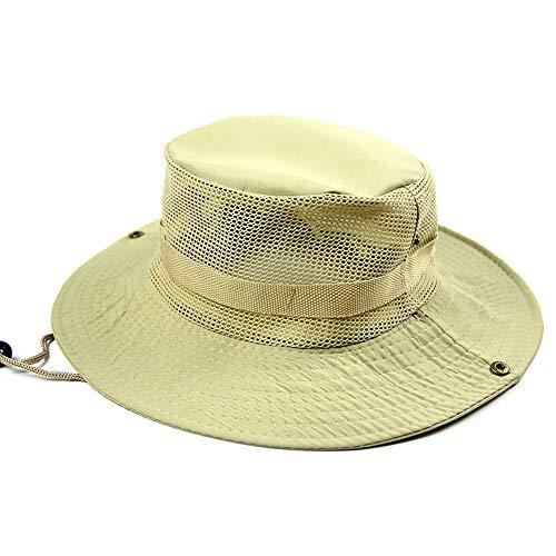 Ogquaton 1 gorro transpirable con correa ajustable, color sólido, plegable, para pesca al aire libre, camping, color beige, práctico y popular