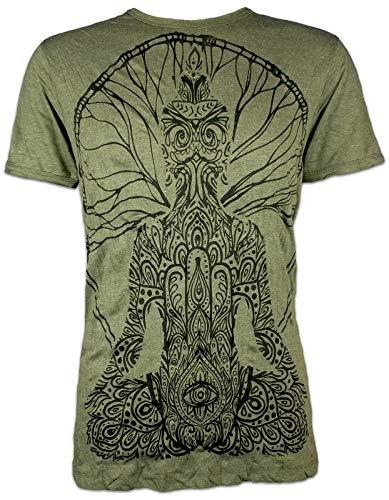 Sure T-Shirt Herren Buddha Hamsa Hand Guru Hippie Goa Wicca Tribal Psychedelic Art Joga Asien Meditation Baum Festival Esoterik (Olive Grün L)