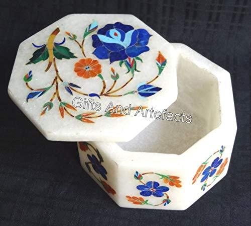 Caja de madera de octágono de mármol con incrustaciones de piedra multicolor caja de anillo de trabajo para madre de 3 pulgadas
