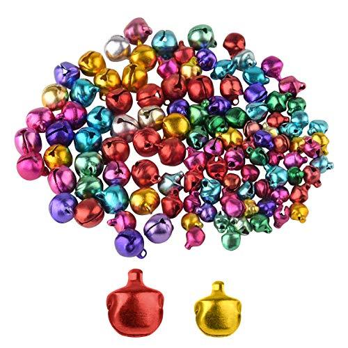 TUPARKA 200PCS 6MM 10MM Jingle Bells Craft Bells Ornament for Christmas Party Decorations Supplies(Assorted Color)
